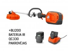 Husqvarna akumuliatorinė žoliapjovė 325iLK+BLI200 baterija+QC330 pakrovėjas