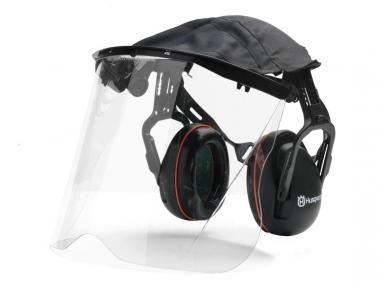 Husqvarna apsauginės ausinės su organinio stiklo apsauginio skydeliu